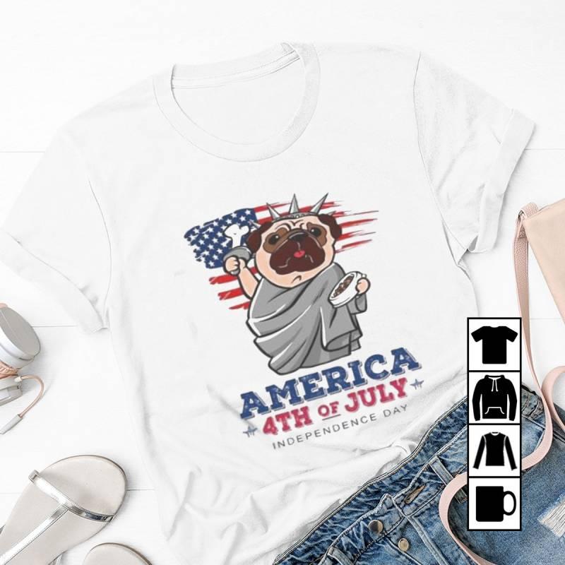 Freedom Pug Dog Ameria 4th Of July Independence Day. Mug, T-Shirt, Long Sleeve, Sweatshirt, Hoodie