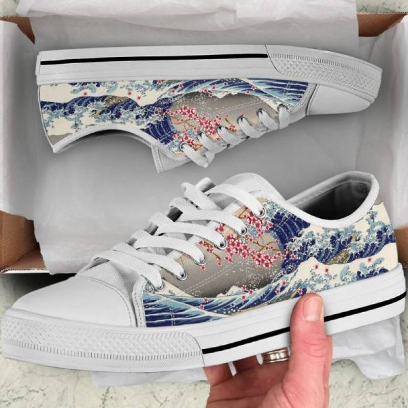 Japanese great wave off kanagawa low top shoes – Hothot 030720