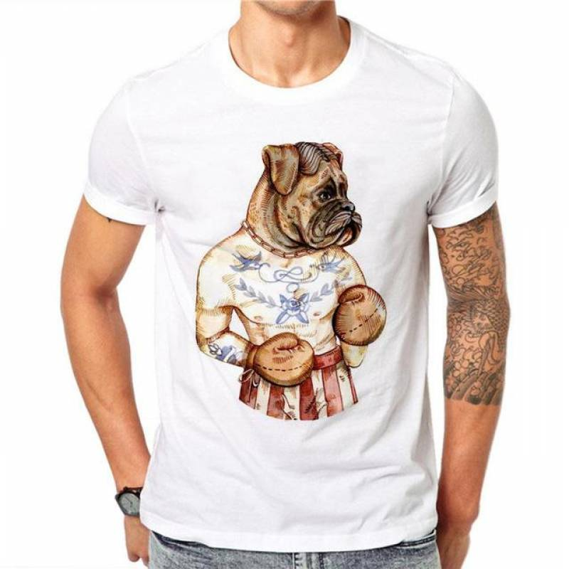 100% Cotton Men 3D Print Dog boxer T-Shirt Summer
