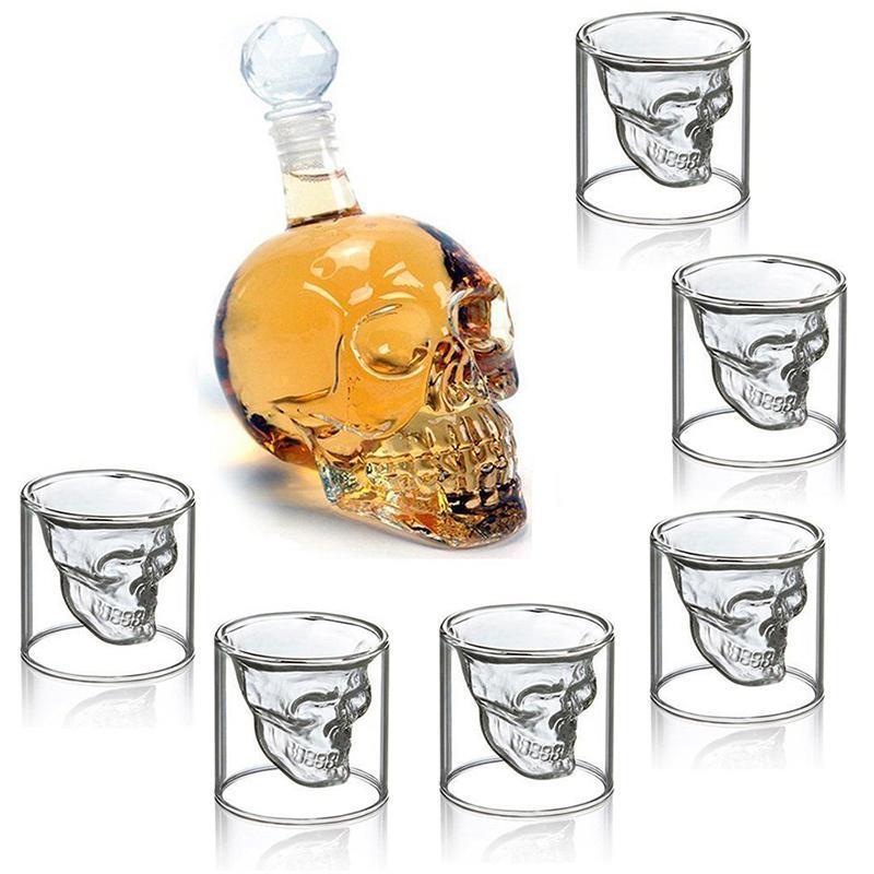 7pcs/set Glass Cup 75ml Crystal Skull Head Shot Glass With 550ml Vodka Bottle Home Bar Mug Beer Wine Champagne Cristal Glass Cup