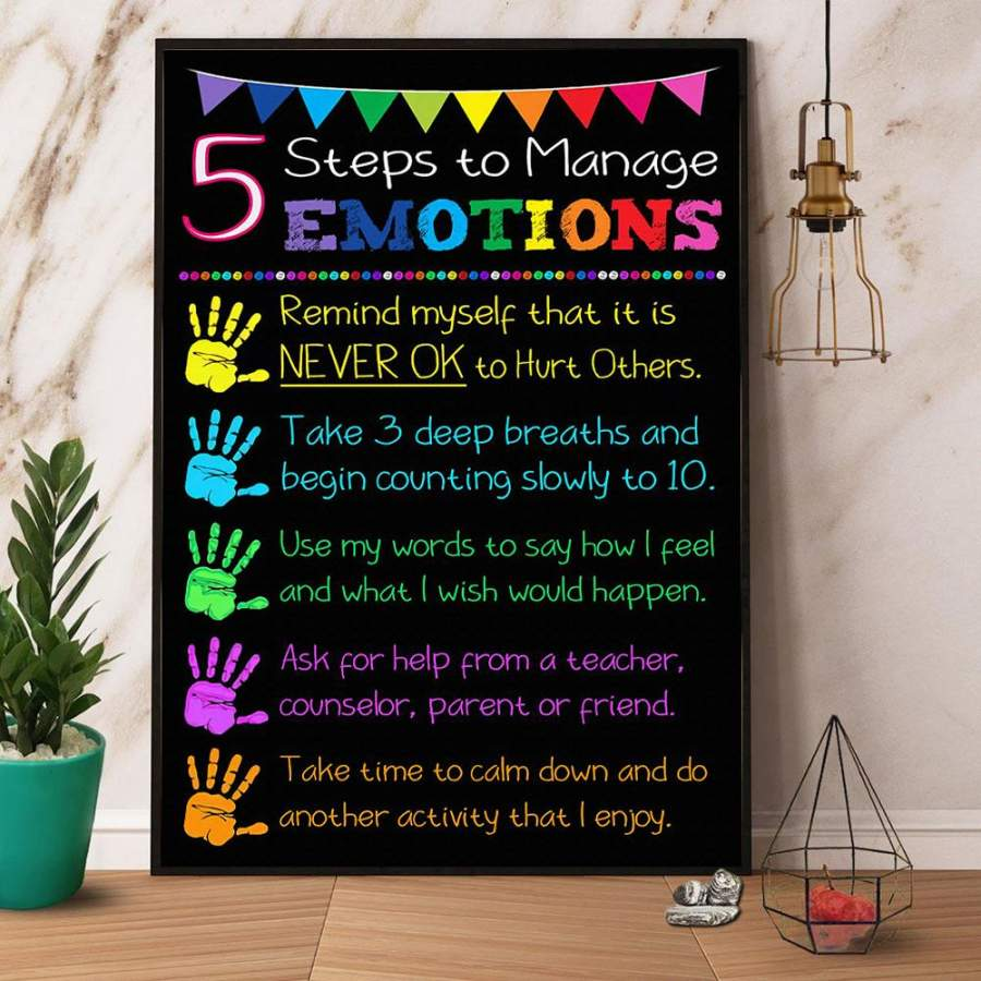 5 steps to manage emotions paper poster no frame/ wrapped canvas wall decor full size