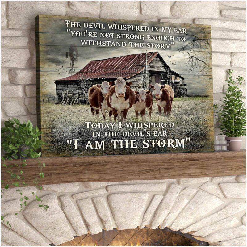 I Am The Storm Hereford Cows Poster Canvas 5232203030