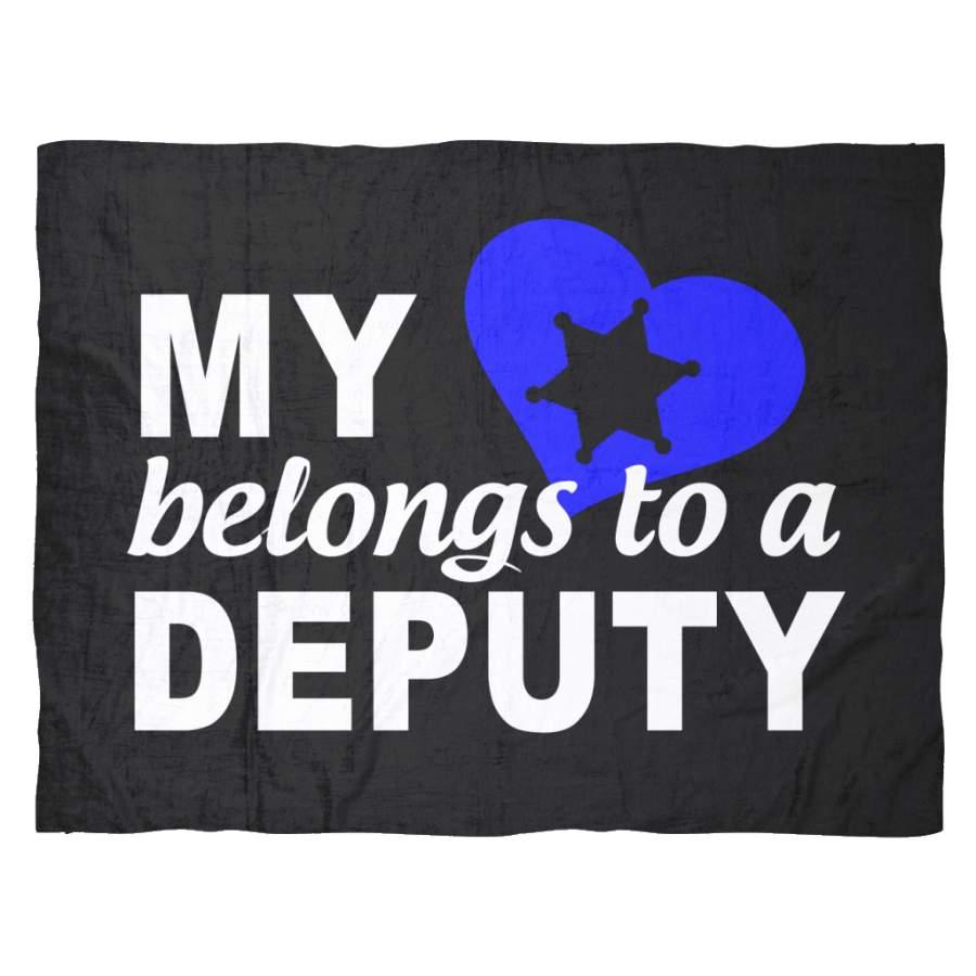 My Heart Belongs To A Deputy Fleece Blanket