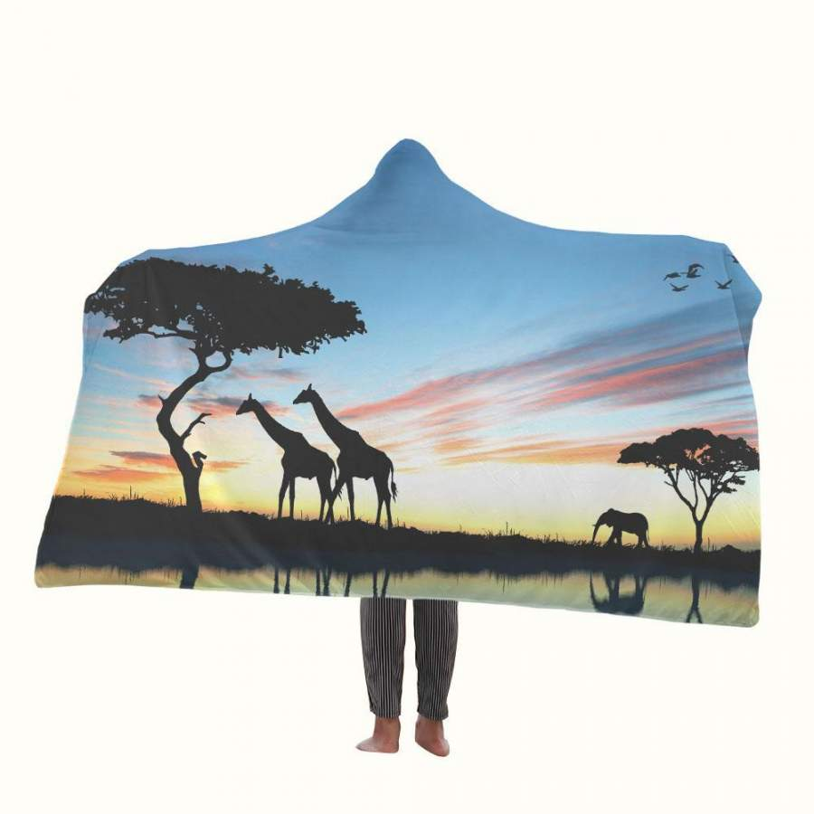 African Silhouette Hooded Blanket