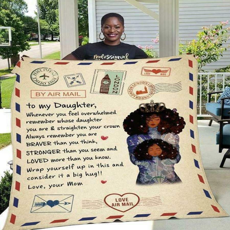 Air Mail Black Mom To My Daughter Message Mom To Daughter Air Mail Blanket Family Gift
