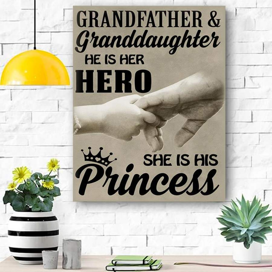 Family Canvas Print Wall Art - Grandfather And Granddaughter - Matte Canvas