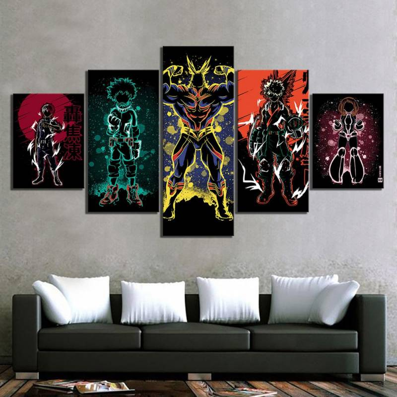 My Hero Academia All Might Deku and Others 5 Panel Paintings Canvas/Poster