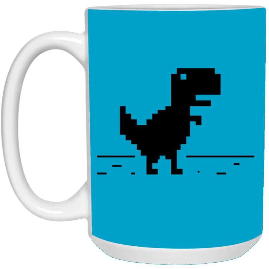 Funny Dinosaur T-Rex Geek Pixel No Internet Connection Mug ...