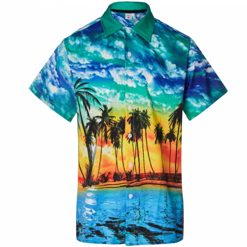 2019 Shirt Summer Style Plam Tree Men Casual Beach Hawaii Shirts Fit Slim Male Blouse Summer Top