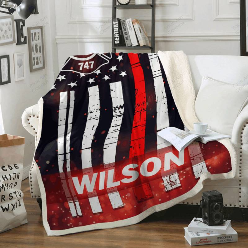 Personalized Thin Red Line Fleece Blanket #1