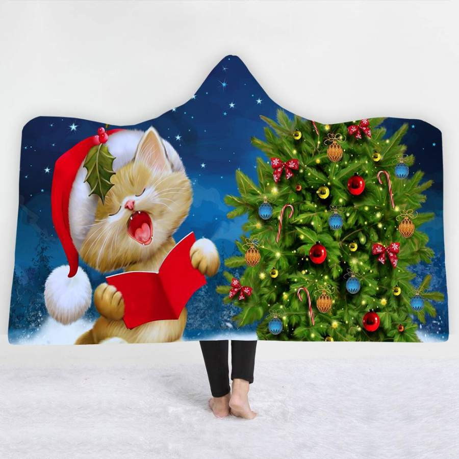 2019 Christmas Hooded Blanket Soft Plush Sherpa Blanket with 3D Printed Pattern Cat And Christmas Trees