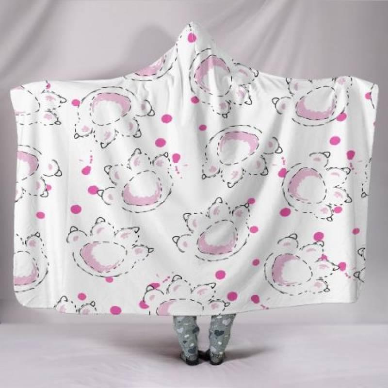 Customised Hoodie Blanket Pink Paws