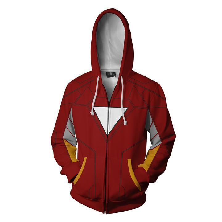 2019 Iron Man Cosplay Zip Up Hoodie Sweatshirt Pockets for Adult