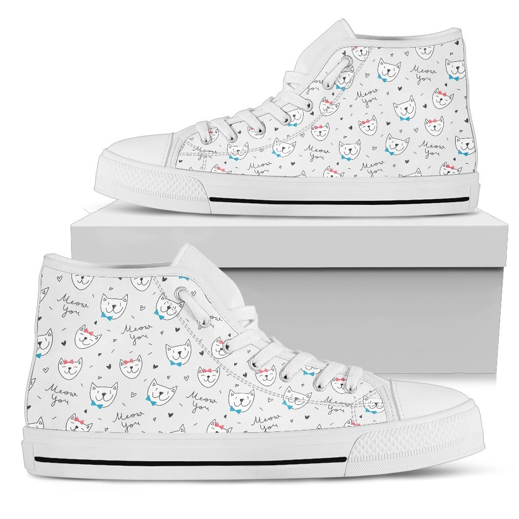 """Meow You"" Cats Women's High Top Shoes (White)"