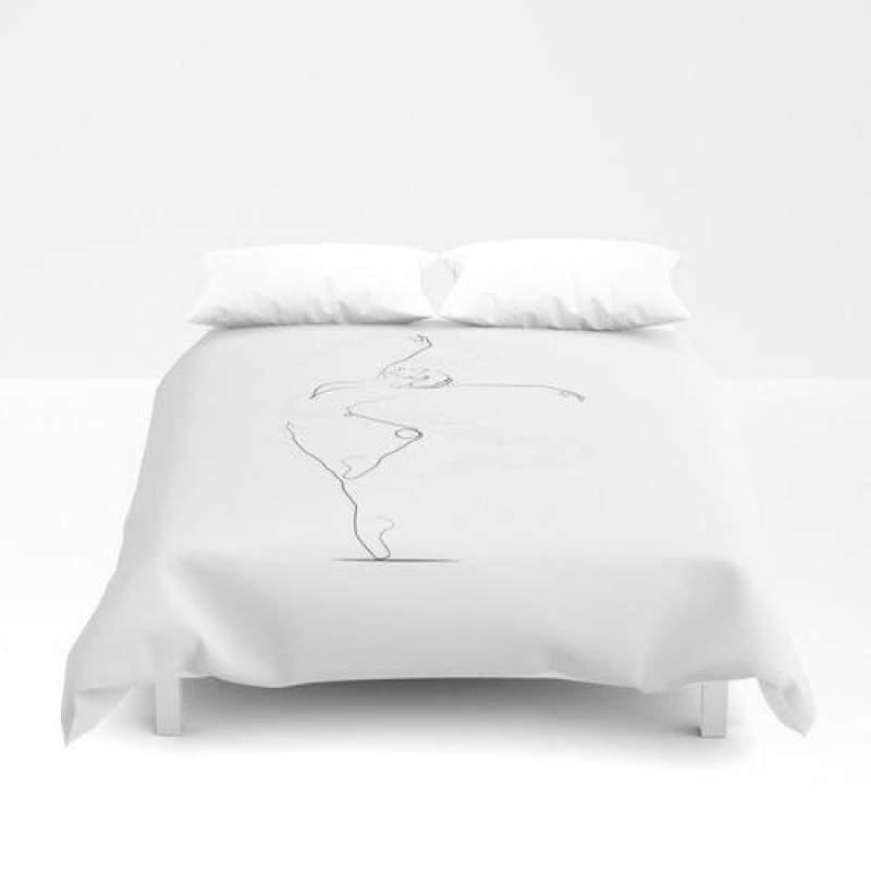 Unfurl', Dancer Line Drawing Duvet Cover Bedding Set