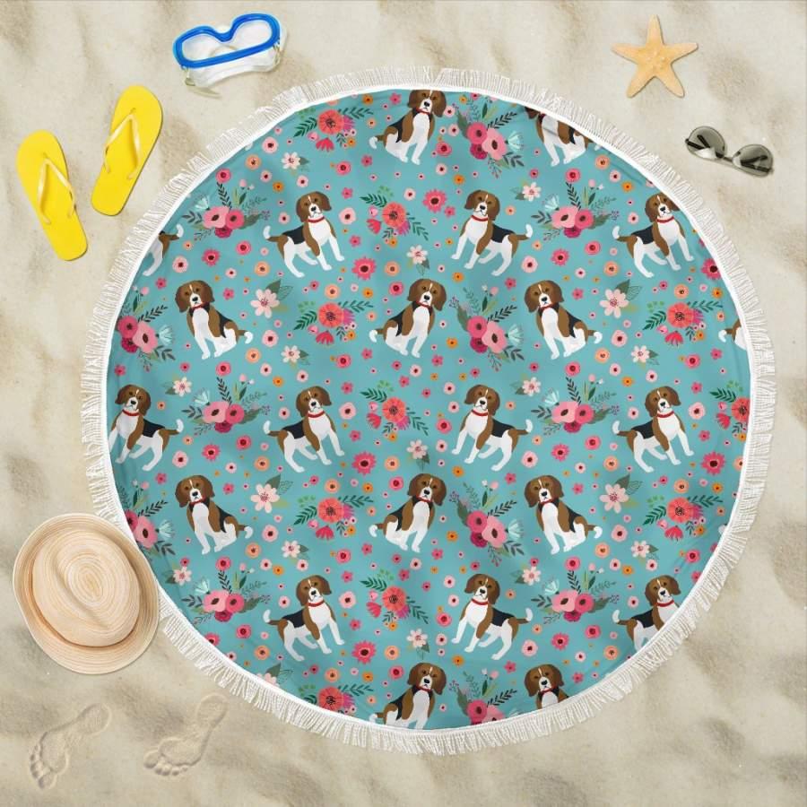 Beagle Flower Beach Blanket