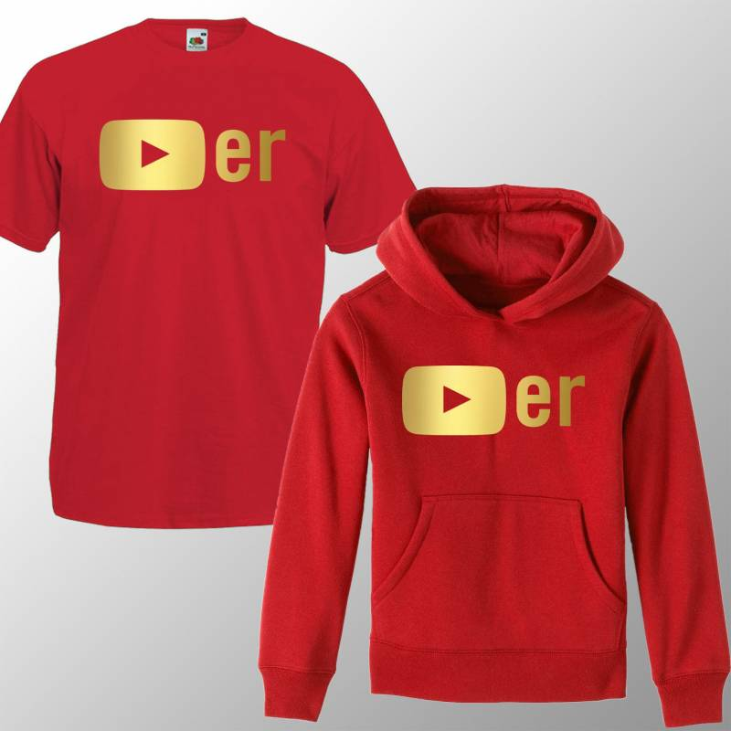 Kids Red & Gold Youtube Hoodie /T Shirt Youtuber Merch Jumper Inspirational Tee Boys Girls Birthday Gift Top Tee 3-13 years  Influencer Gift