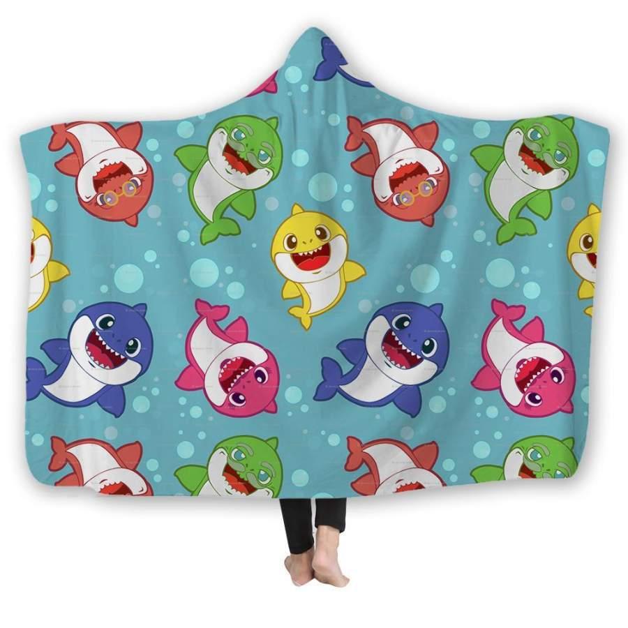 2019 Baby Shark Hooded Blanket for Adult Kid Household Office Use