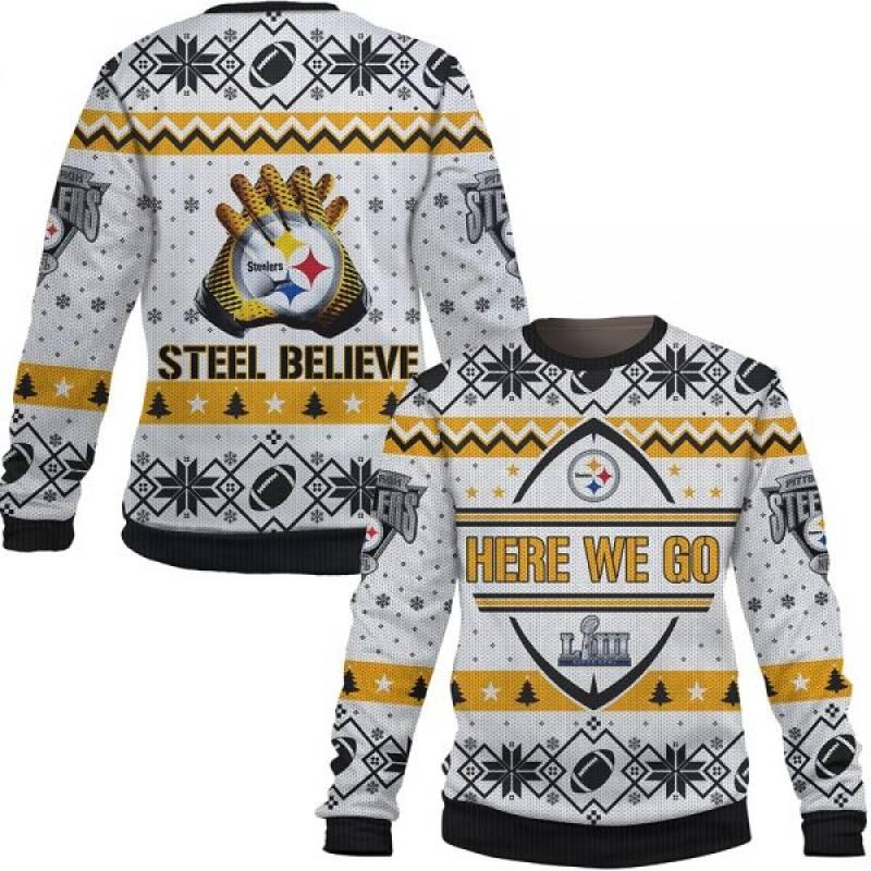 Here We Go Pittsburgh Steelers Steel Believe Nfl Xmas Ugly Sweatshirt/Hoodie/Hooded Blanket