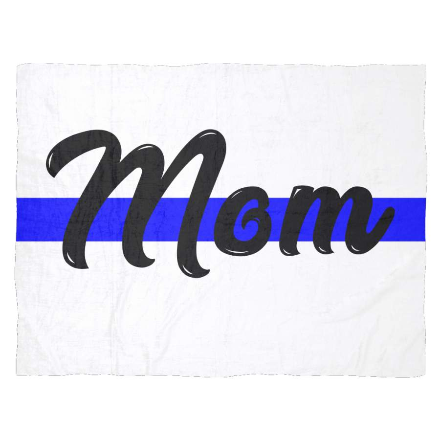 Mom - Thin Blue Line Blanket - White