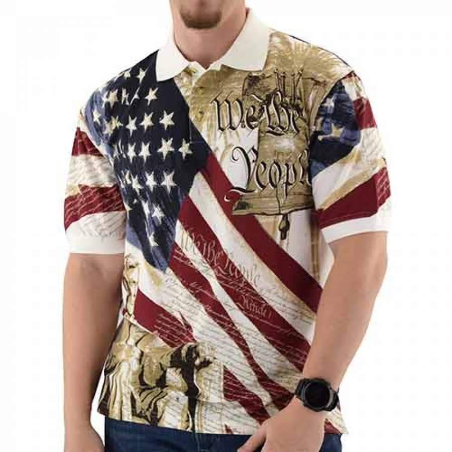 Abraham Lincoln Patriotic Mens Polo Shirt