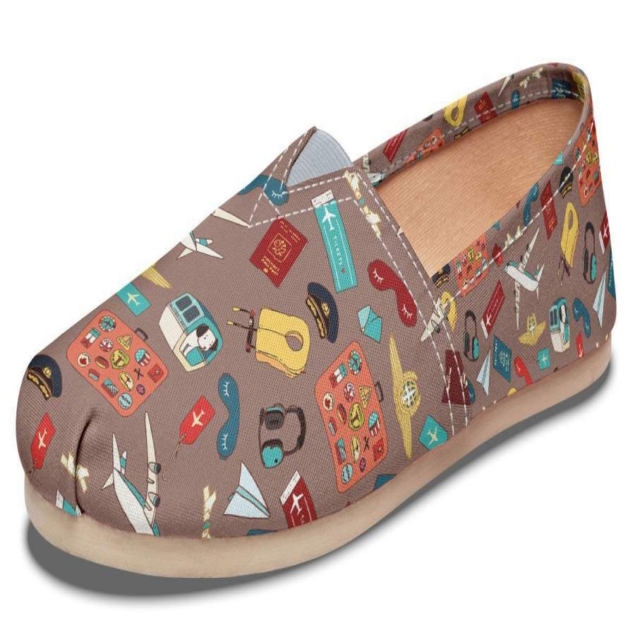 Airplane Travel Icons Casual Shoes