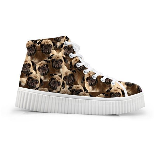 Adorable Dog Print Flat Platform Creepers Shoes