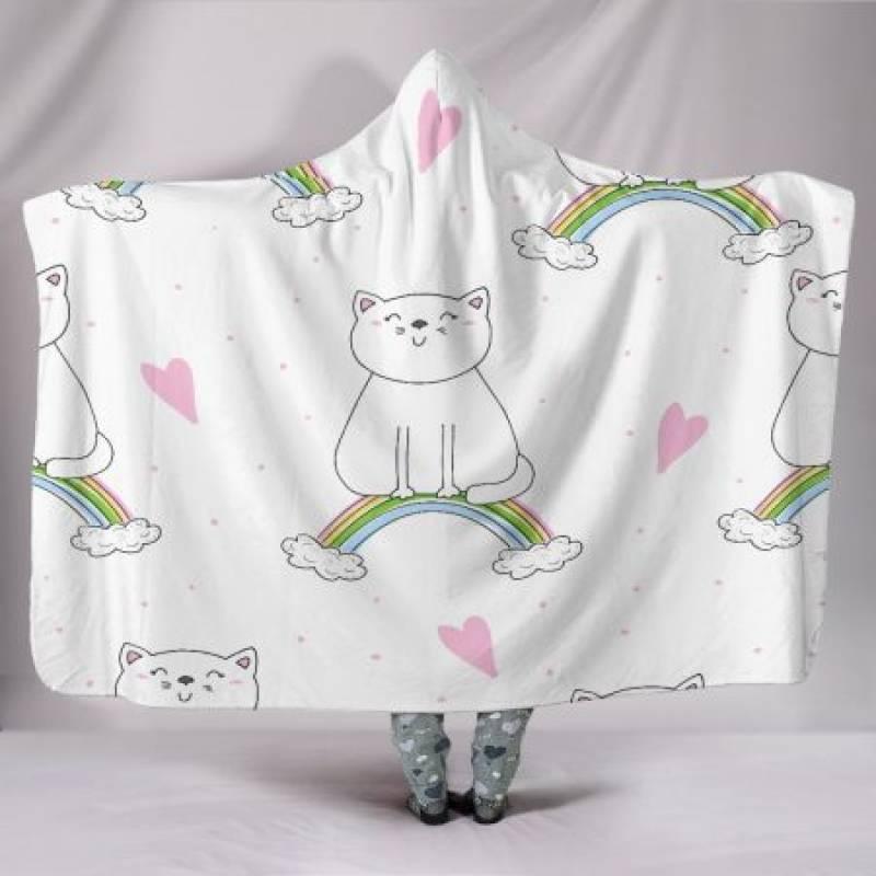 Customised Hoodie Blanket Kitten on a Rainbow