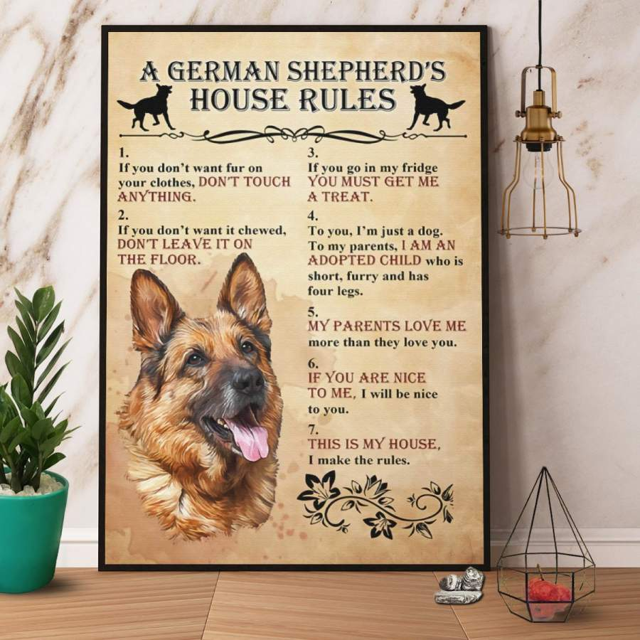 A German Shepherd's House Rules Paper Poster No Frame/ Wrapped Canvas Wall Decor Full Size