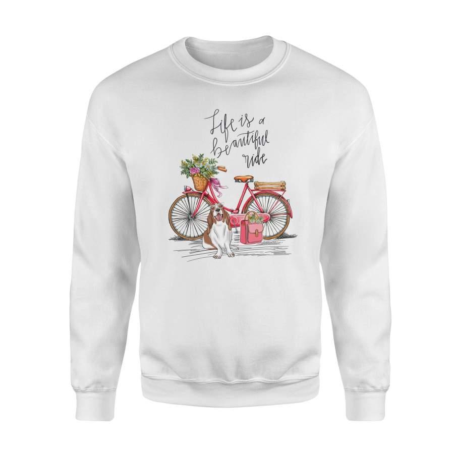 Basset hound Bike, Vintage Sweatshirt, Gifts T- shirt, Funny T- shirt, Bicycle Tees, Women T- shirt, White T- shirts - Premium Fleece Sweatshirt
