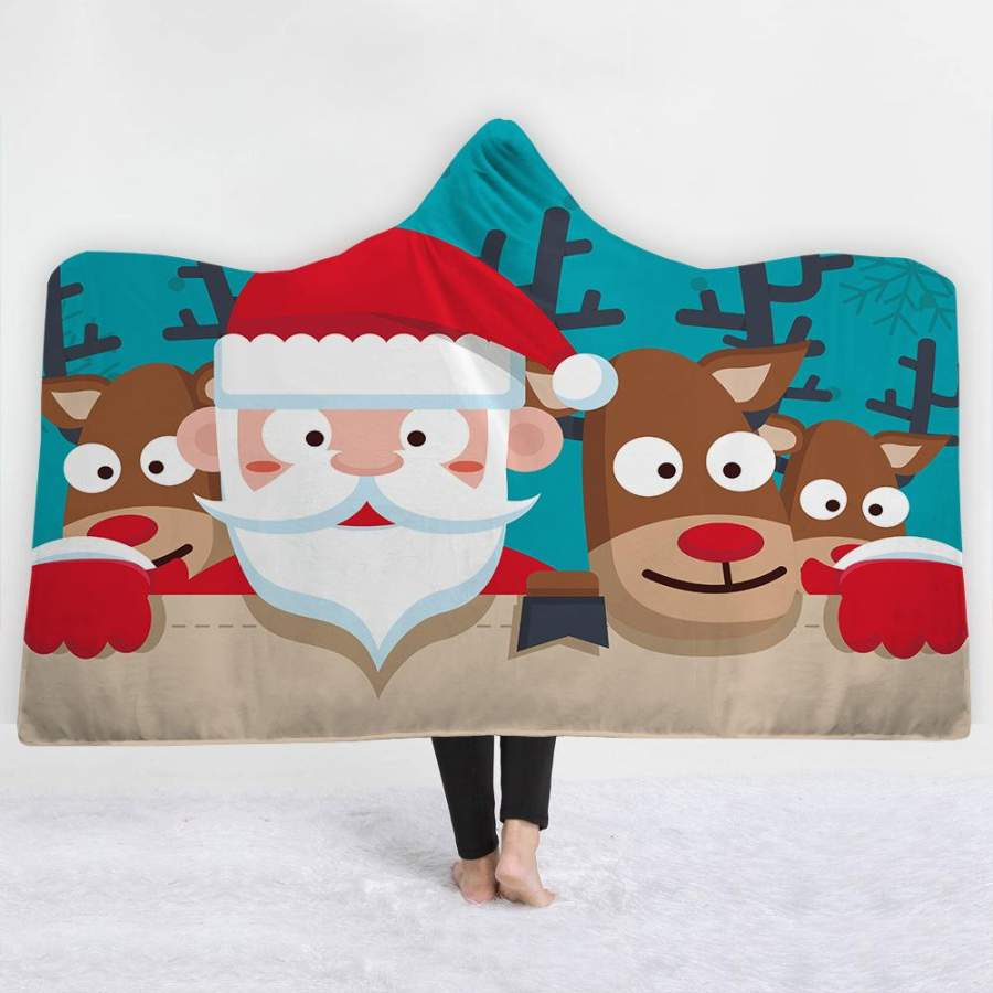 2019 Christmas Blue Hooded Blanket Soft Plush Sherpa Blanket with 3D Printed Pattern