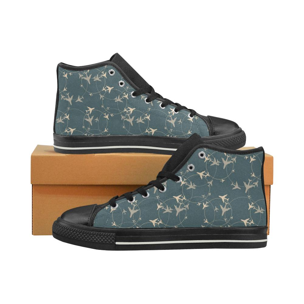 Airplane Circle Pattern Women's High Top Shoes Black