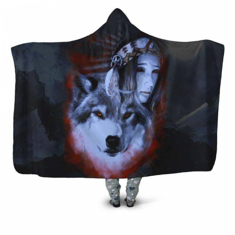 My Wolf My Spirit Hoodie Blanket