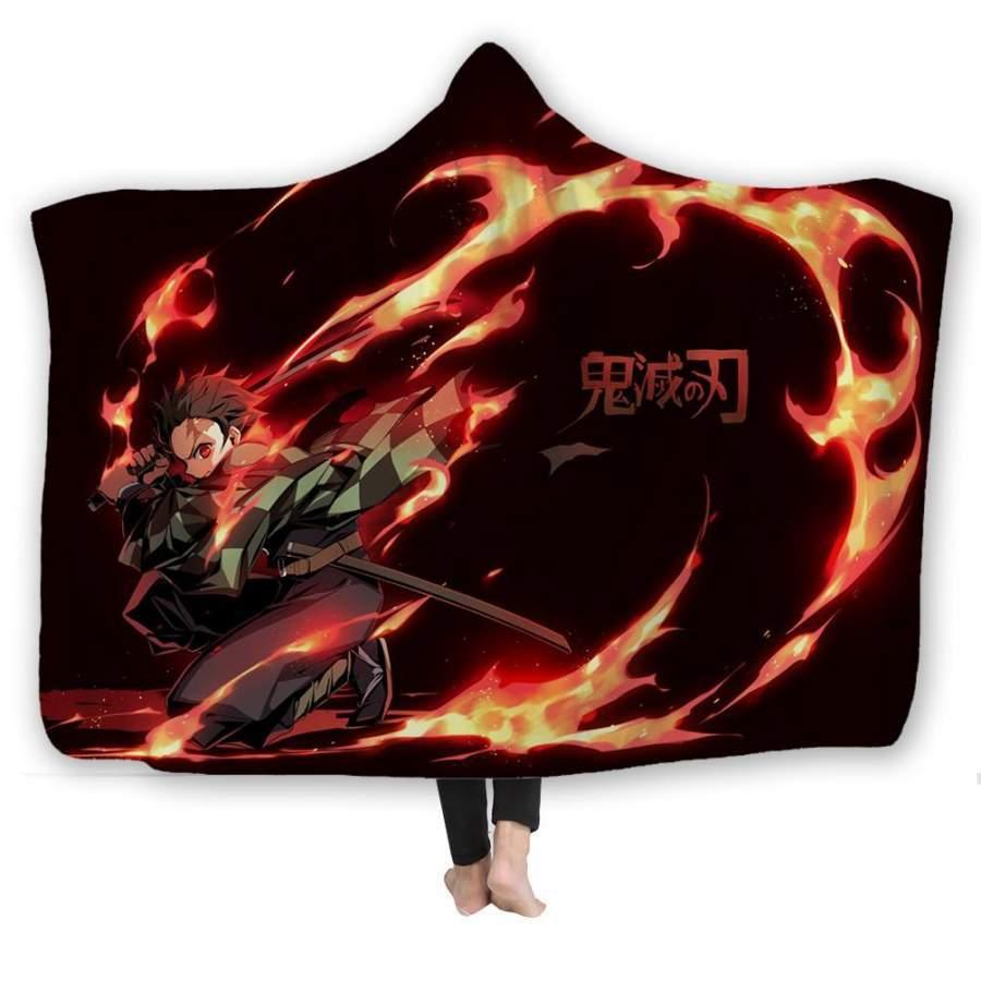 2019 Demon Slayer Kimetsu no Yaiba Hooded Blanket Fleece Blanket For Household