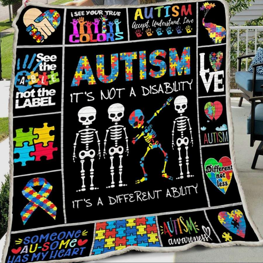 Autism its not a disability skeleton babbing blanket GST