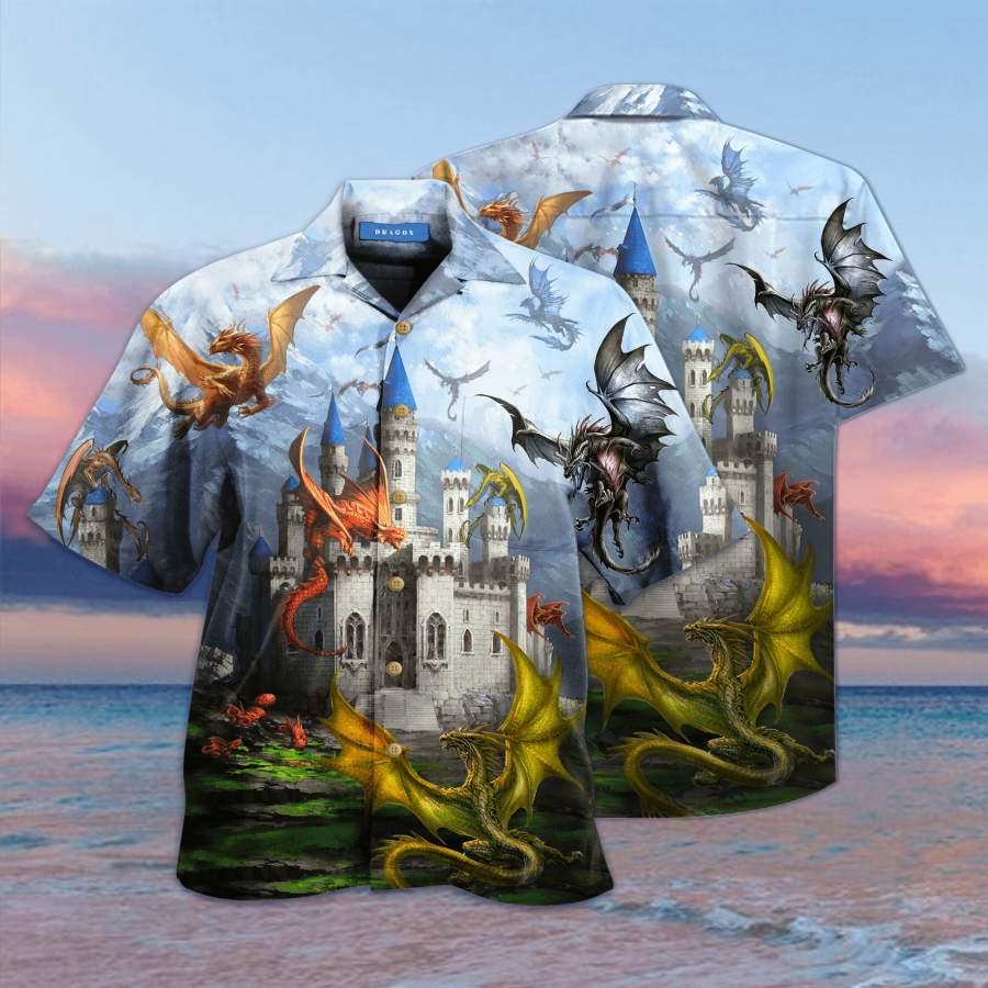 �Amazing Dragons Fly In The Castle Hawaiian Aloha Shirts #V