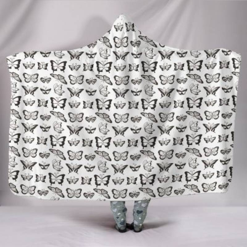 Customised Hoodie Blanket Sepia Small Butterflies