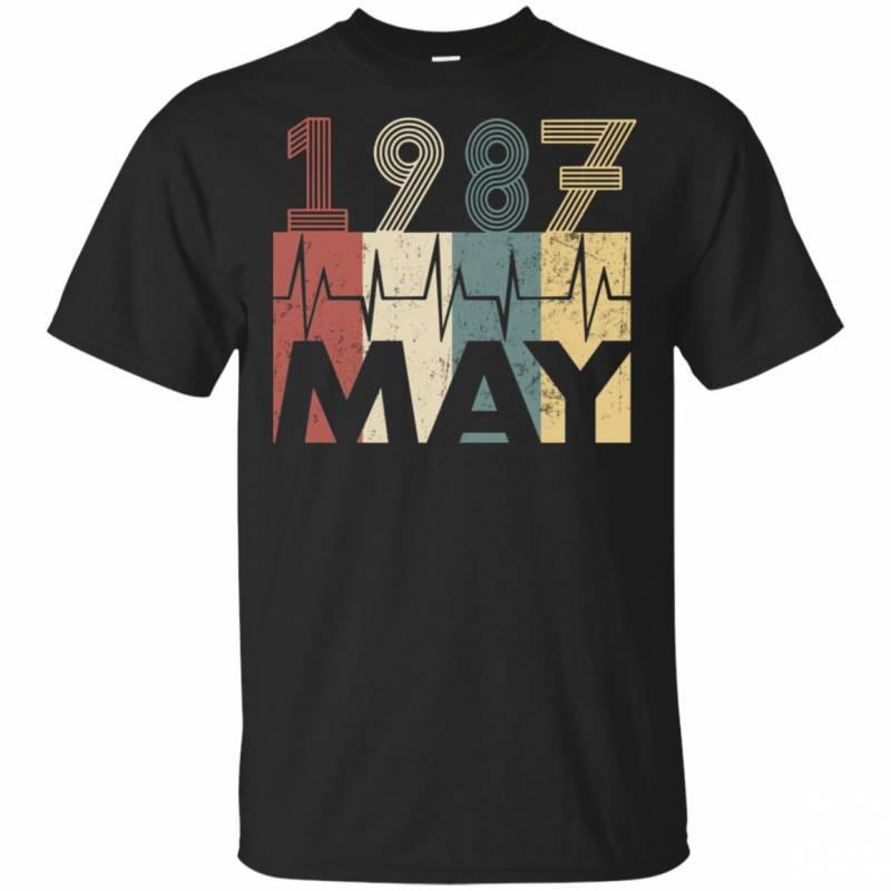 Vintage Heartbeat May 1987 Birthday Gift Men Women T Shirt Mn03
