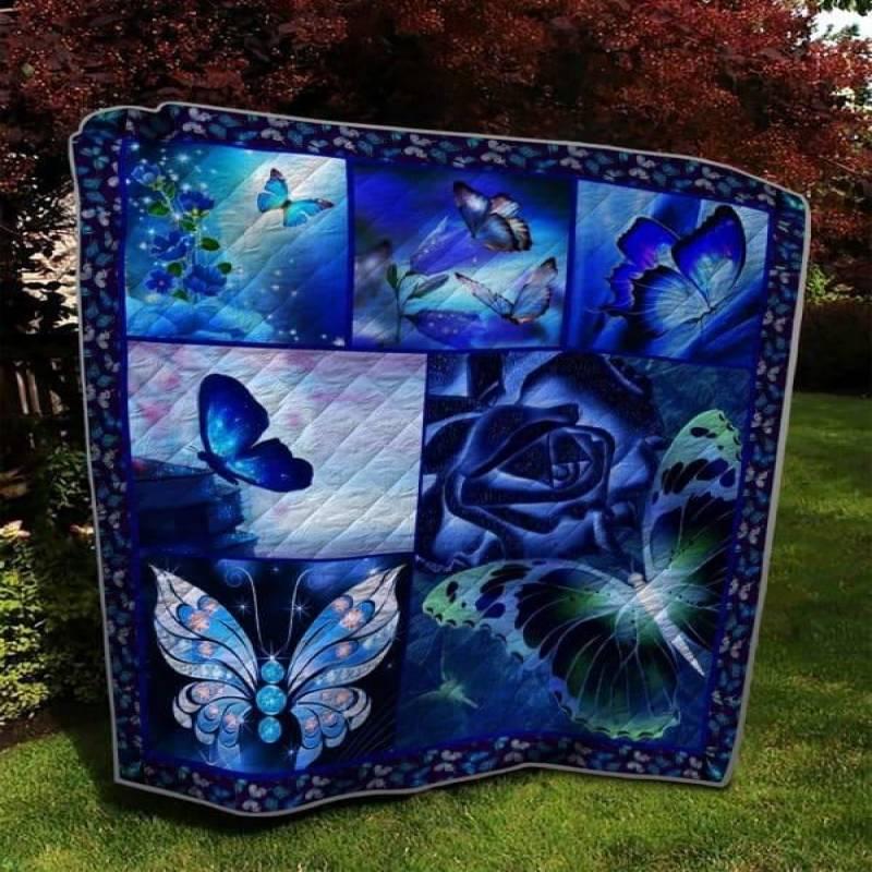 Blue Twinkle Butterfly Quilt Blanket