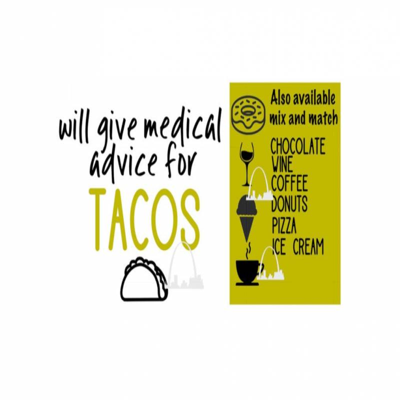 Will give medical advice for tacos svg cut file pizza wine coffee donuts ice cream svg t-shirt decal coffee mug decal diy Silhouette cricut