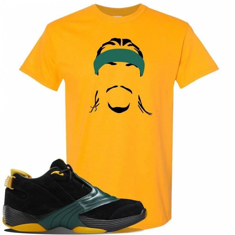 Answer 5 Bethel High Sneaker Gold T Shirt | Tees to match Reebok Answer 5 Bethel High Shoes | Headband Cornrows