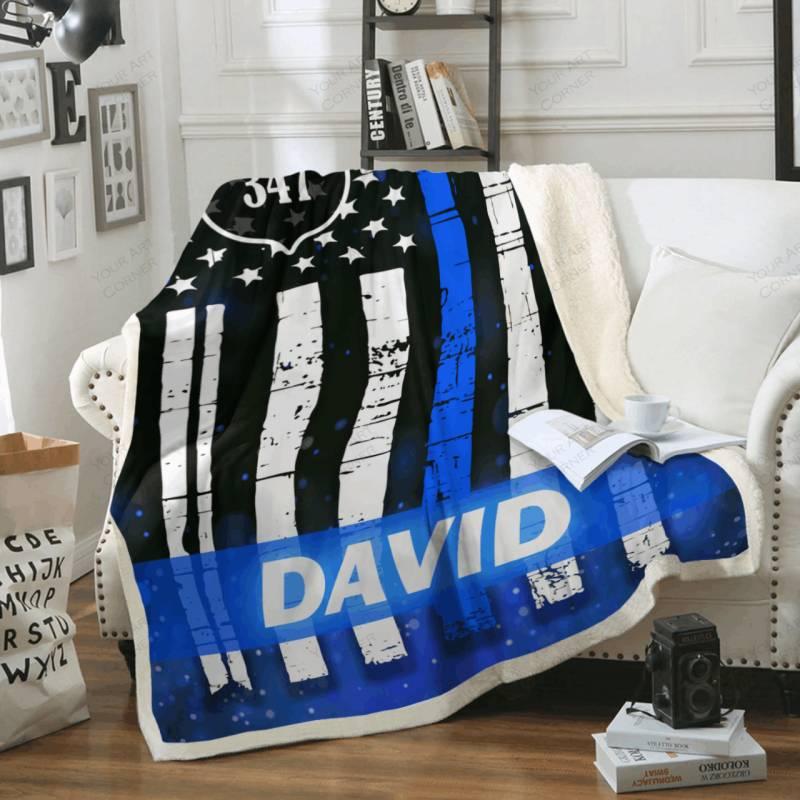 Personalized Thin Blue Line Fleece Blanket #1