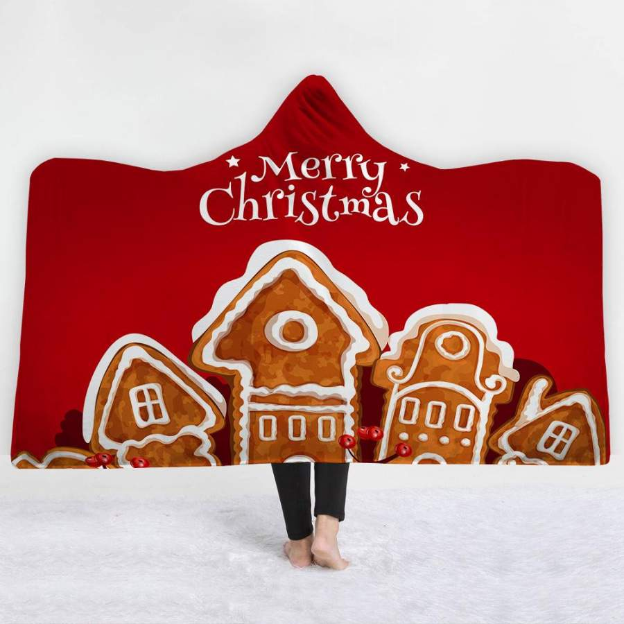 2019 Christmas Red Hooded Blanket Soft Plush Sherpa Blanket with 3D Printed Pattern For Kids And Adult