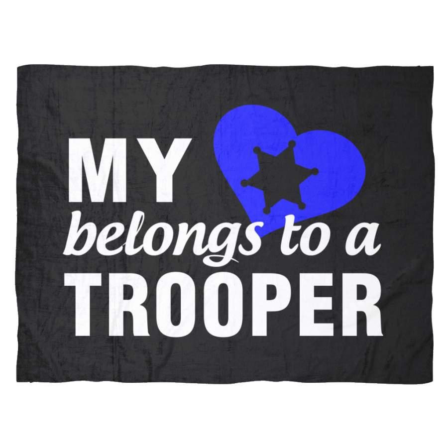 My Heart Belongs To A Trooper Fleece Blanket