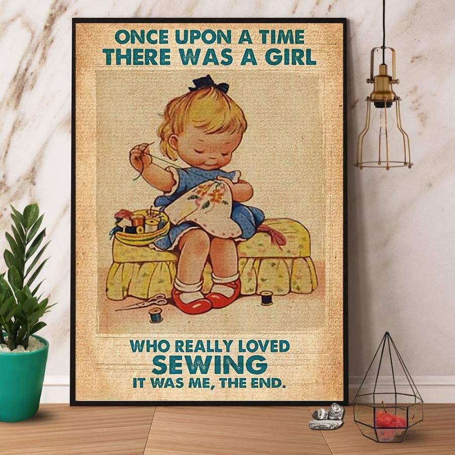 A Girl Who Really Loved Sewing Paper Poster No Frame/ Wrapped Canvas Wall Decor Full Size