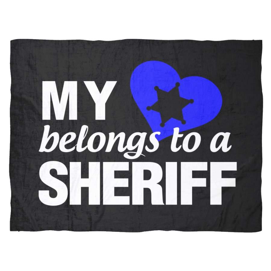 My Heart Belongs To A Sheriff Fleece Blanket