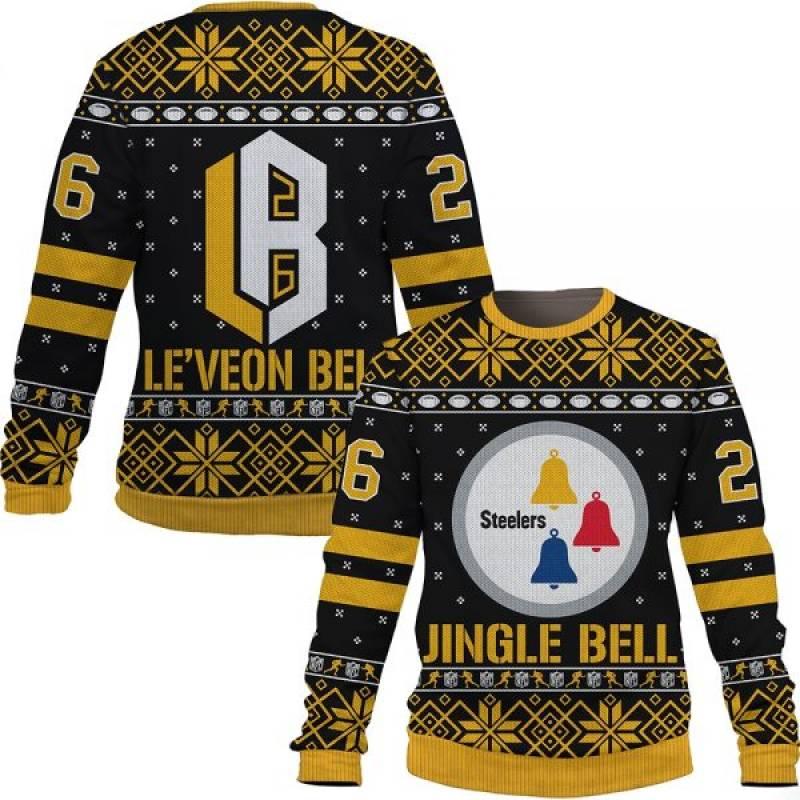Jingle Le'Veon Bell Nfl Christmas Ugly Sweatshirt/Hoodie/Hooded Blanket Pittburgh Steelers