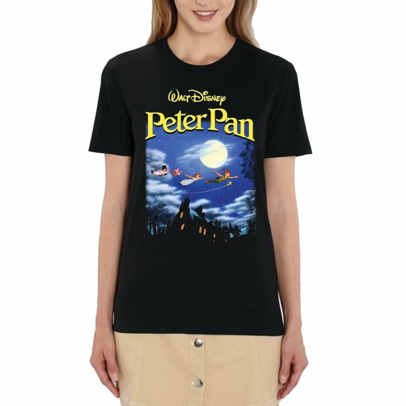 Disney Peter Pan Poster Ladies Black T-Shirt