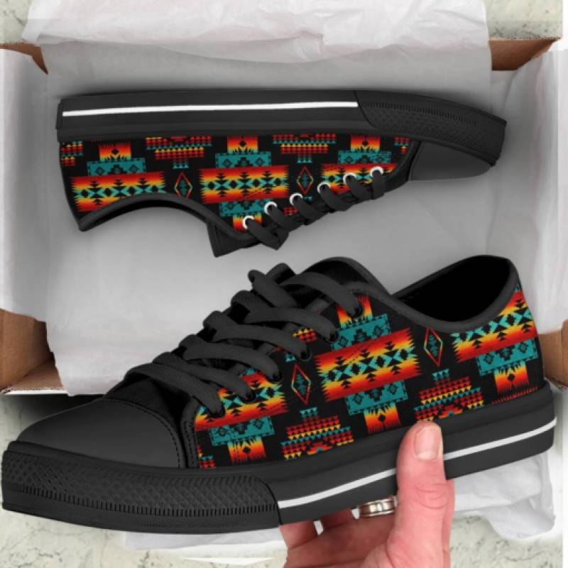 homesweetquilt – Canvas Native Tribes Pattern 02 Over Printed Low Top Shoes Canvas With Framed Full, Home Decor Prints, hc0809