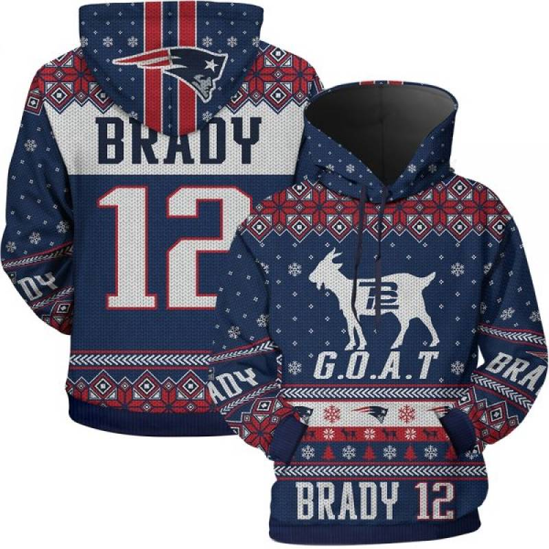 New England Patriot Tom Brady 12 G.O.A.T Goat Ugly Sweatshirt Hoodie And Hooded Blanket